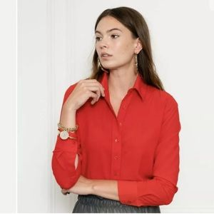 The Shirt by Rochelle Behrens Tops - THE SHIRT Flash Red No Gape Blouse Button Down Top